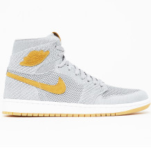Air Jordan - Chaussures Air Jordan 1 Retro High Flyknit Wolf Grey