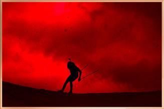 "Martin Fourcade - Acrylic Art poster ""Ciel rouge"""