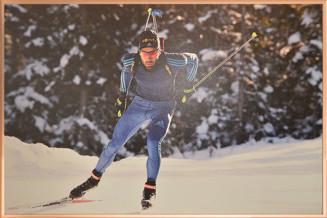 "Martin Fourcade - Acrylic Art poster ""Entraînement hivernal"""