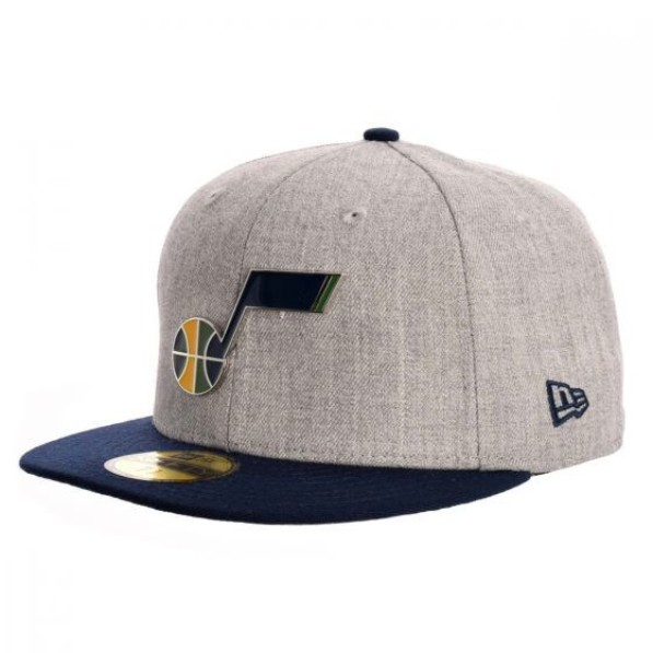 Fitted Hats Men New Era Design Lab 2T Heather Metal Color Logo 5950 Utah  Jazz Gray
