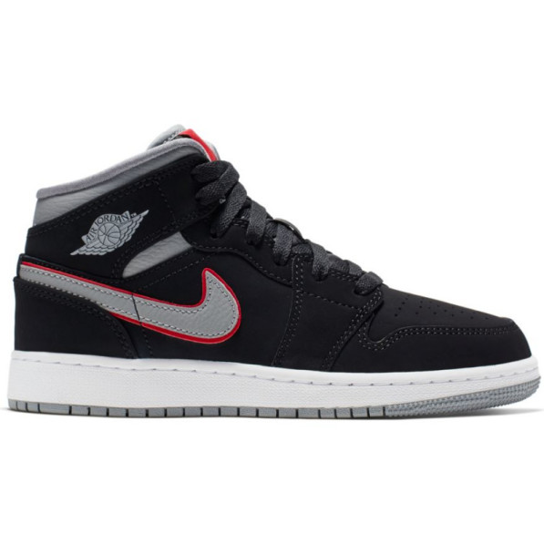 wholesale outlet info for cheapest Jordan Chaussure de Basket Air 1 Mid (GS) Junior Noir Gry - Rudy ...