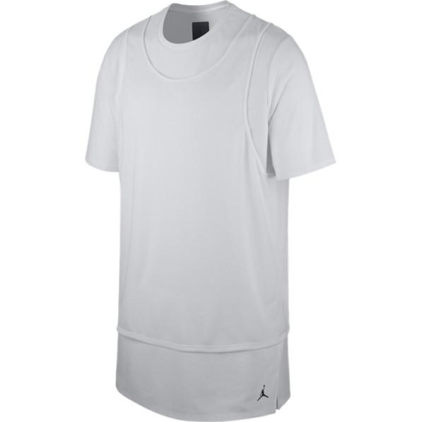 Sleeve Overlay 23 T Lux Jordan Shirt Short Blanc KJuTl1c3F