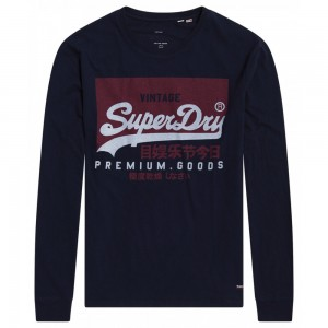 T-shirt Manches Longues Superdry Vintage Logo Rich Navy