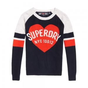 Pull Superdry Varsity Graphic Logo Knit Navy / Red