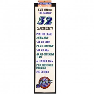 Winning Streak Career Achievements Banner Utah Jazz Karl Malone White