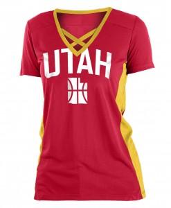 T-Shirt Woman New Era Apparel W Draft Dribble CE Vneck Top Utah Jazz Red