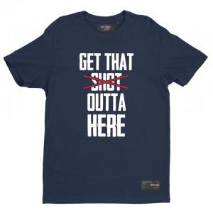 """T-shirt bleu """"Get that shot outta here"""""""