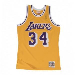 Maillot NBA Shaquille O'Neal Los Angeles Lakers Mitchell & Ness Hardwood Classics jaune