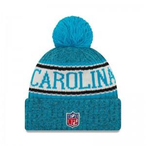 Bonnet NFL Carolina Panthers New Era On Field 2018 à pompon Bleu