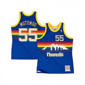 Maillot NBA Dikembe Mutombo Denver Nuggets 1991-92 Mitchell & Ness Hardwood Classic Swingman Bleu