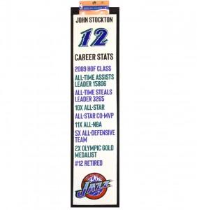 Home & Office Decor Winning Streak Career Achievements Banner Utah Jazz John Stockton White
