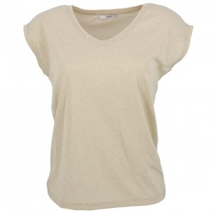T-shirt Mode Manches Courte Femme Only Silvery gold colour tee l