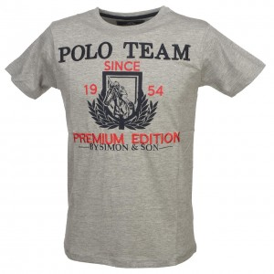 T-shirt Mode Manches Courte Homme Simon And Son Tony grey mel t-shirt mc