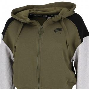 Veste Molleton Multisport Femme Capuche Zippé Nike Air hoodie fz bb kaki