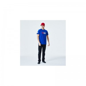 T-Shirt NBA Philadelphia 76ers New Era Gradient Wordmark Bleu pour Homme