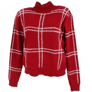 Pull-over Mode Femme Col Roulé Lcouture Carre vintage w rouge