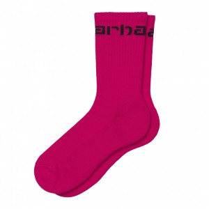 Chaussettes Carhartt Socks Ruby Pink / Black