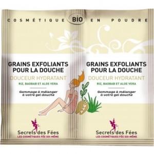 Grains exfoliants douche Douceur hydratants bio SECRETS DES FEES 2x5g