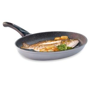 Poêle à poisson ovale revêtement Dur comme la pierre 34 cm Mathon