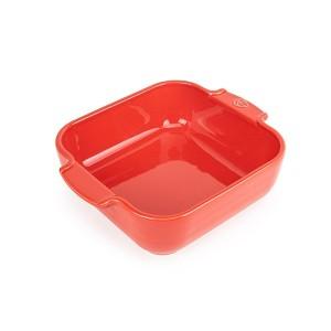 Plat four carré céramique rouge 21 cm Peugeot