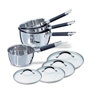 Lot 4 casseroles + 4 couvercles Rapid Cook 14 à 20 cm Mathon