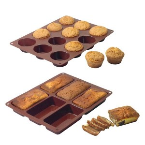 Lot de 2 Flexi'moules : 1 plaque 12 muffins + 1 plaque 6 cakes Mathon