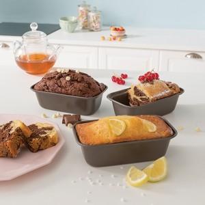 Set 3 mini moules à cake acier revêtu 15,5 cm Mathon