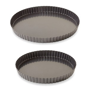 Lot 2 moules à tarte acier revêtu bords cannelés 24,5 et 28 cm Mathon