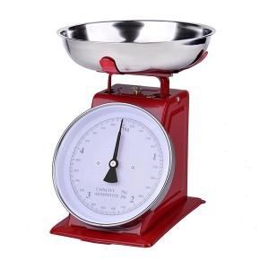 Balance de cuisine mécanique rouge 5 kg