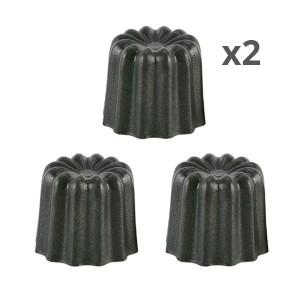 Lot de 6 moules à cannelés en aluminium anti-adhésif 5,5 cm