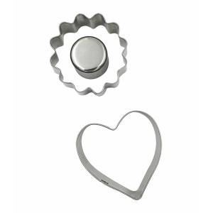 Set 2 emporte-pièces pour biscuits fourrés coeur et fleur Patisse