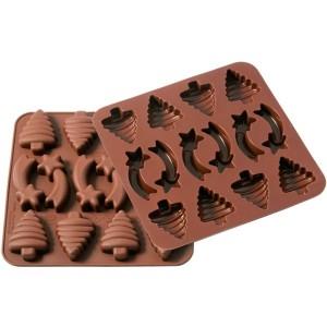 Moule 14 chocolats étoiles et sapins