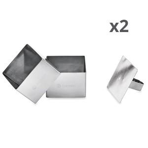 Lot de 4 emportes pièces carrés en inox avec poussoir Mathon