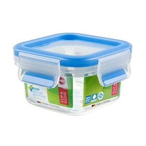 Boîte carrée Clip & Close bleu 0,25 L Emsa