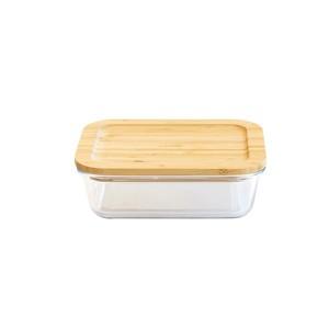 Boîte rectangle verre couvercle bambou 1L Pebbly