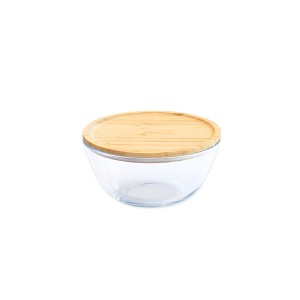 Bol à mixer rond couvercle bambou 0.7L Pebbly