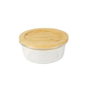 Boîte ronde verre bambou 620 ml Pebbly