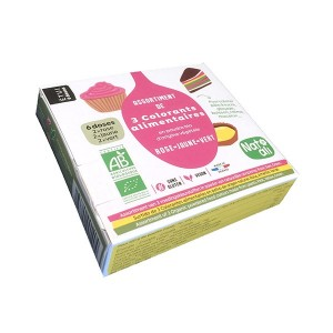 3 colorants alimentaires en poudre rose, jaune et vert