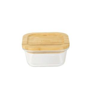 Boîte carré verre bambou 520ml Pebbly