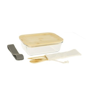 Lunch box avec 3 couverts bambou Pebbly