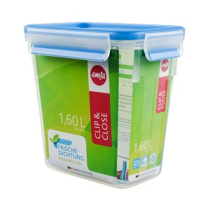 Boîte haute rectangle Clip & Close bleu 1,6 L Emsa