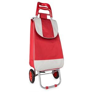 Chariot de courses rouge 2 roues 30 L