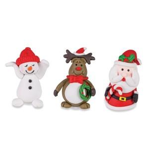 3 Pics décos thème Noël : Renne, Père Noël et Bonhomme de neige Patisse