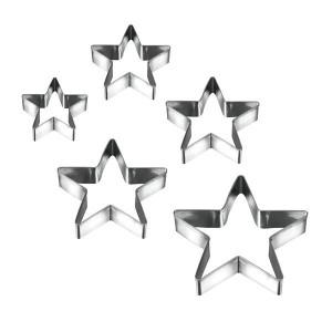 5 emporte-pièces étoile inox