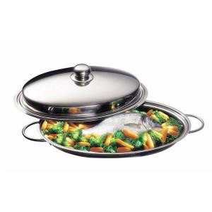 Poêle à poisson ovale en inox et couvercle 40 cm