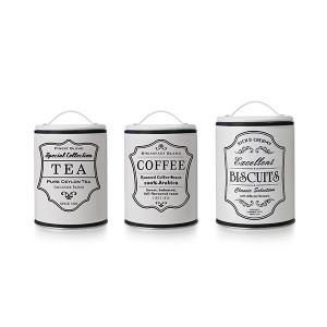 Lot de 3 pots de conservation thé café biscuit Ibili