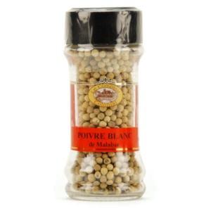 Poivre blanc Malabar en grains - Pot 60g