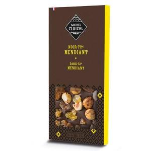 Tablette chocolat noir 72% aux fruits secs (mendiant) - Tablette 100g