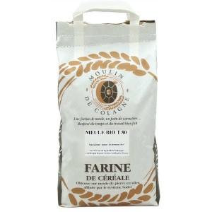 Farine de blé bise à la meule T80 bio - Sac 1kg