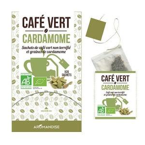 Café vert en sachet à la cardamome bio - Boite 18 sachets de 3g